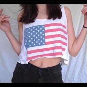 Rare American Apparel - American flag crop top